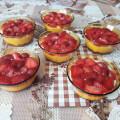 Млечен десерт с ягоди в купички